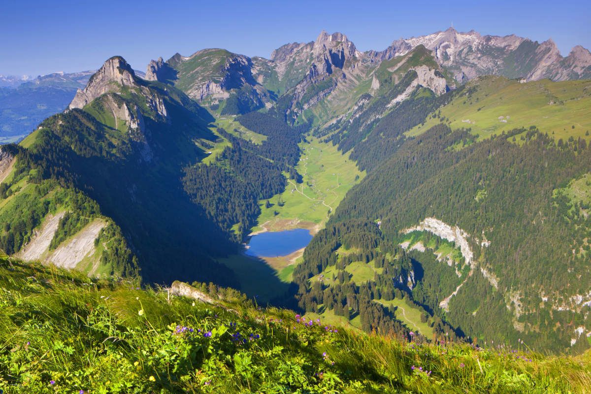 Appenzell - View from Hoher Kasten to the Saemtisersee and the Saentis in the Alpstein